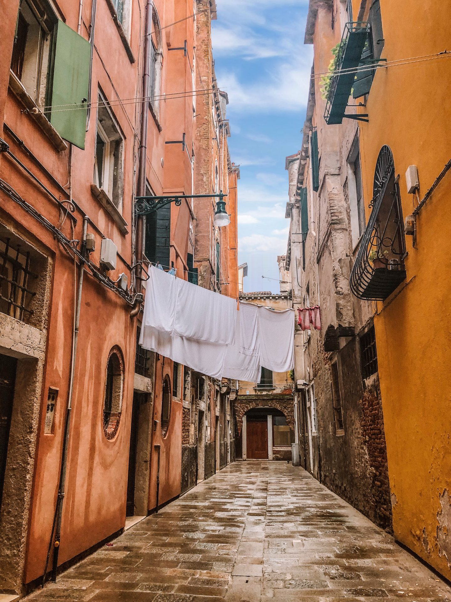 Laundry hanging over the street in Venice, Italy