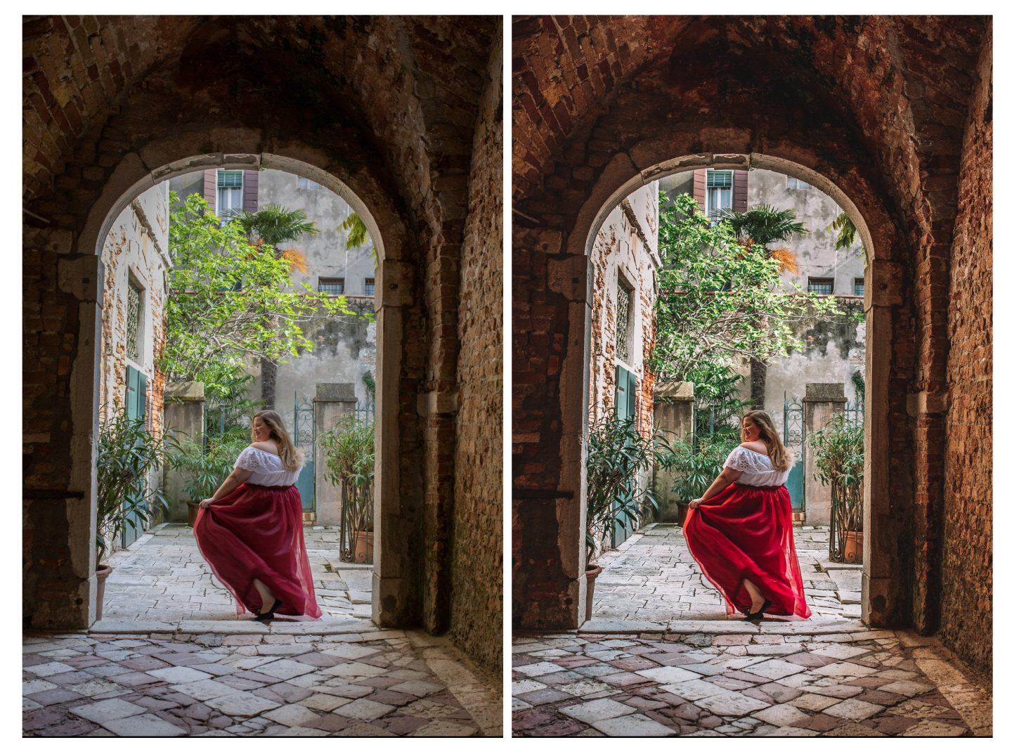 Before and after photo of a female in a Italian courtyard in Venice, Italy showing the editing of a lightroom preset