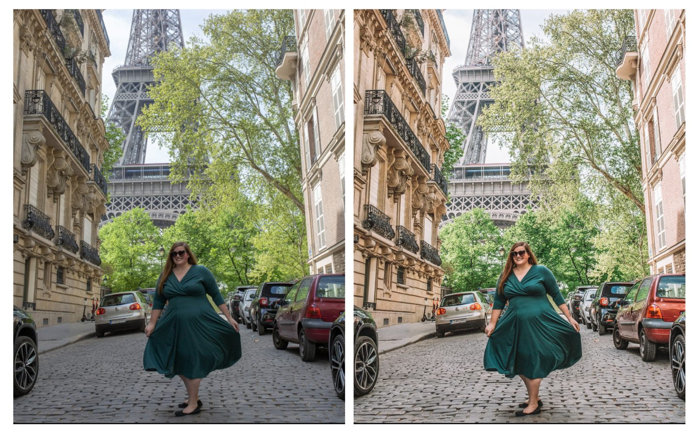 Before and after photo of a female in front of the Eiffel Tower in Paris, France showing the editing of a lightroom preset