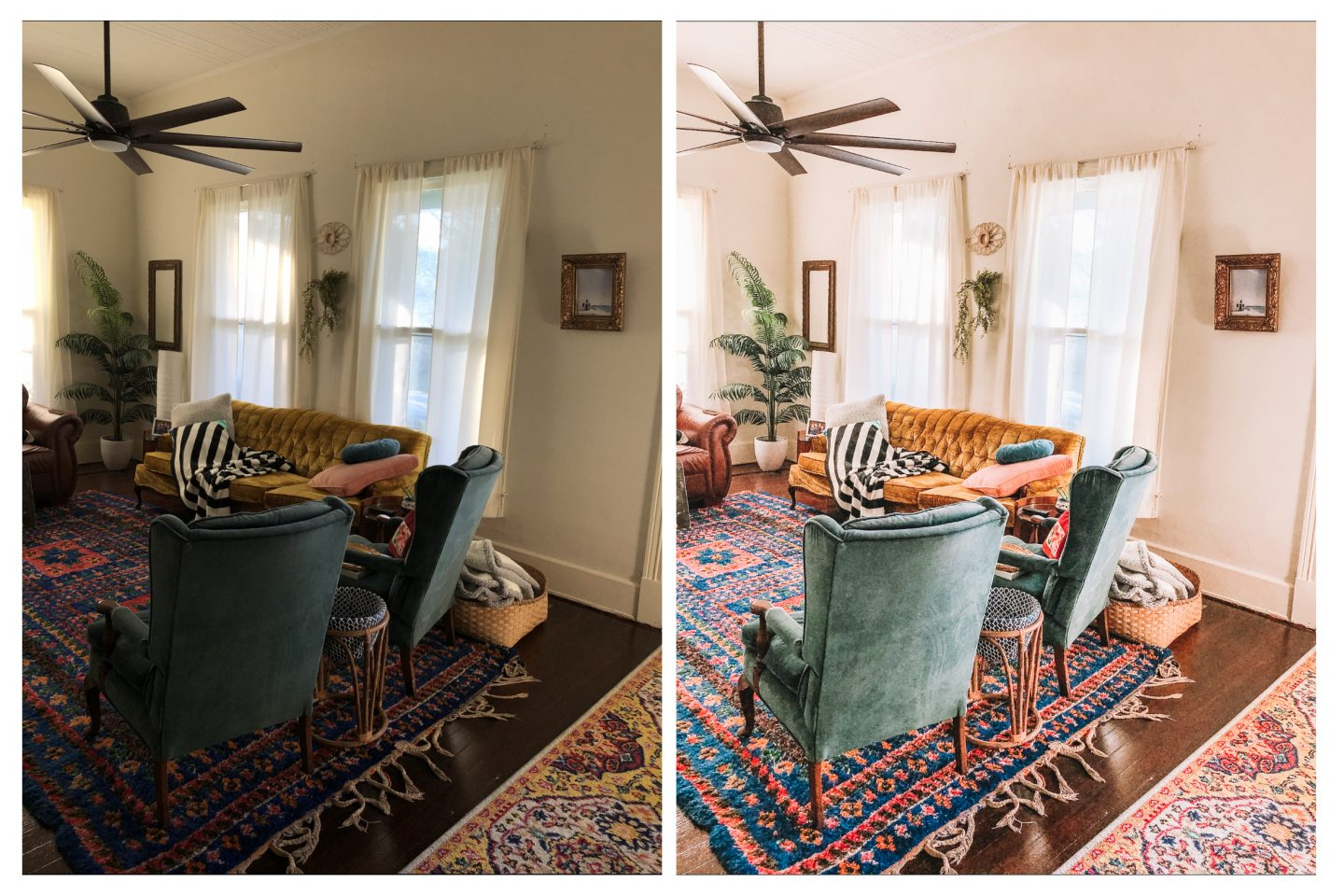 Before and after photo of a bohemian style living room showing the editing of a lightroom preset