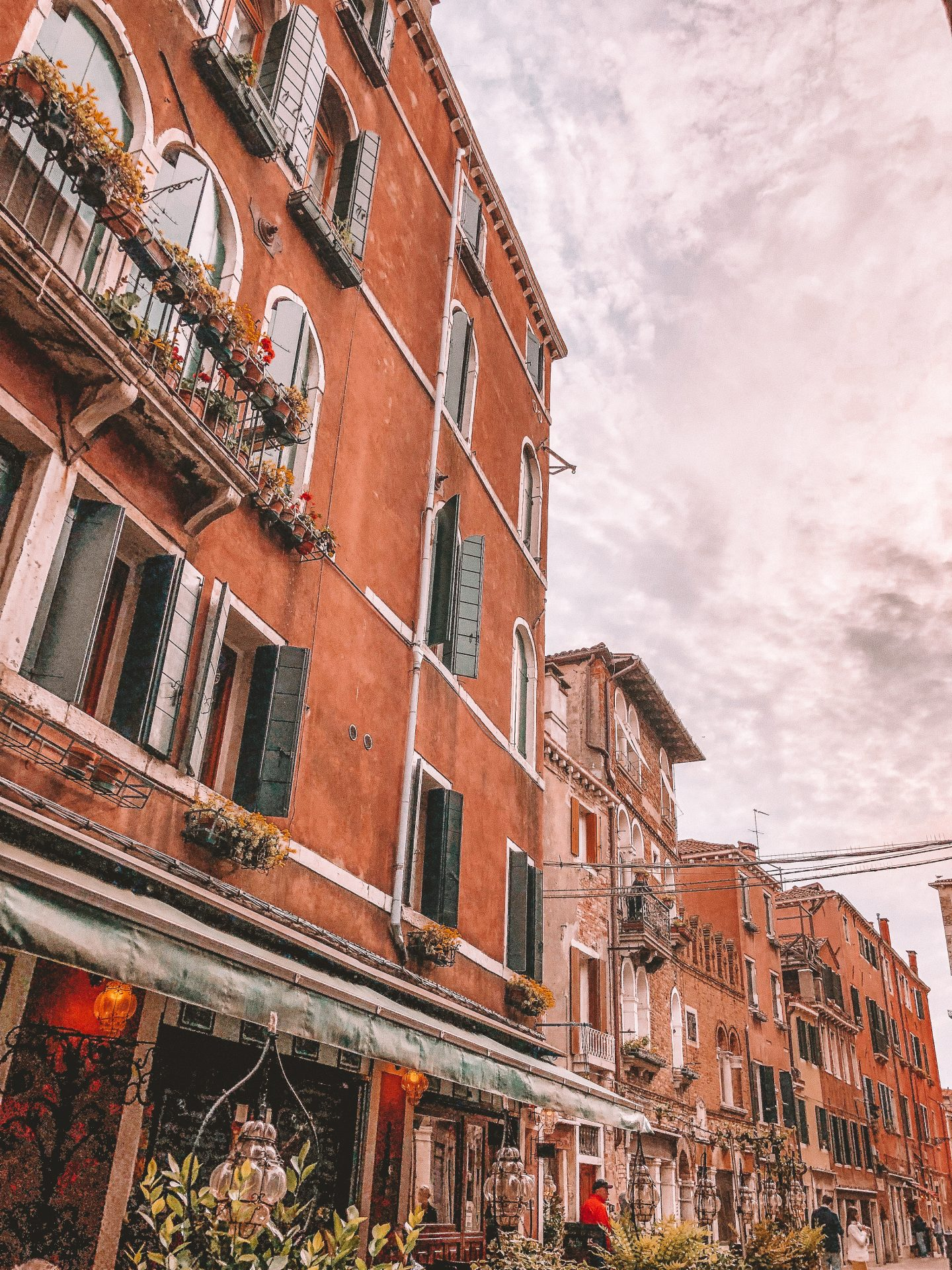 Buildings with a cloudy sky in the background in Venice, Italy