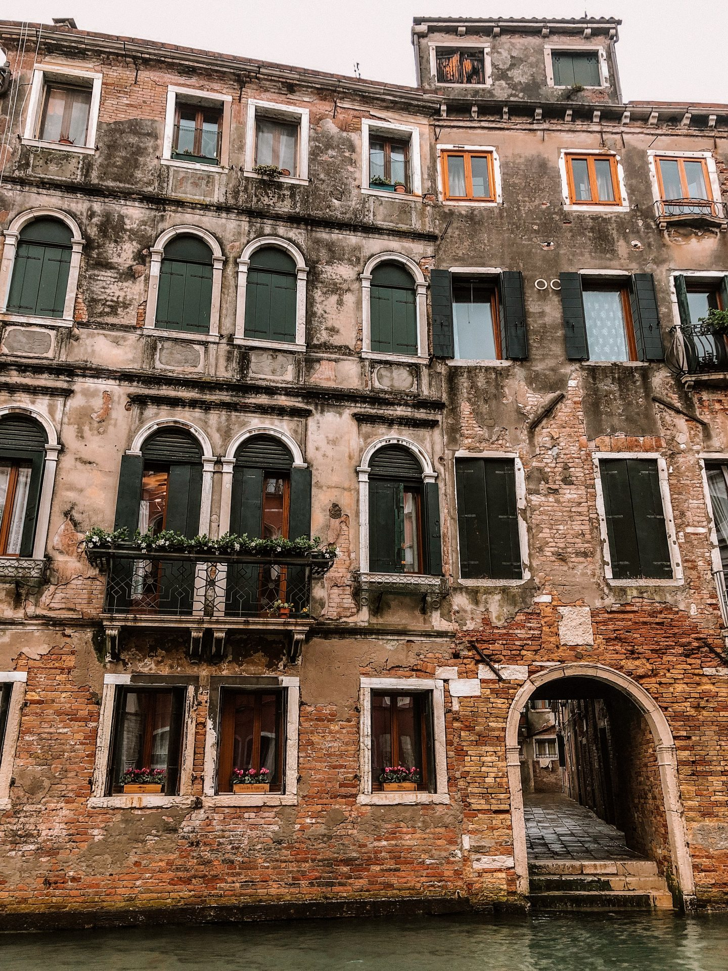 Houses on the canal in Venice, Italy