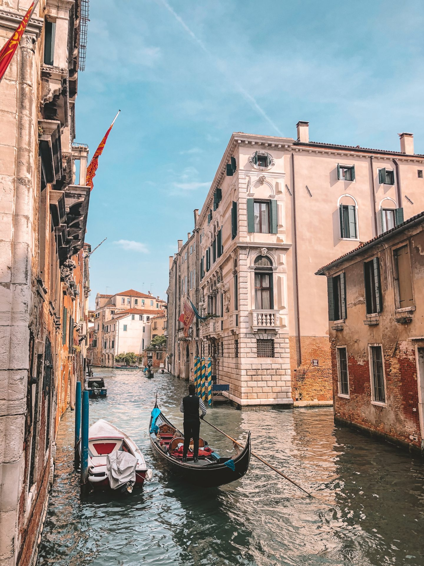 A gondola in a waterway in Venice, Italy
